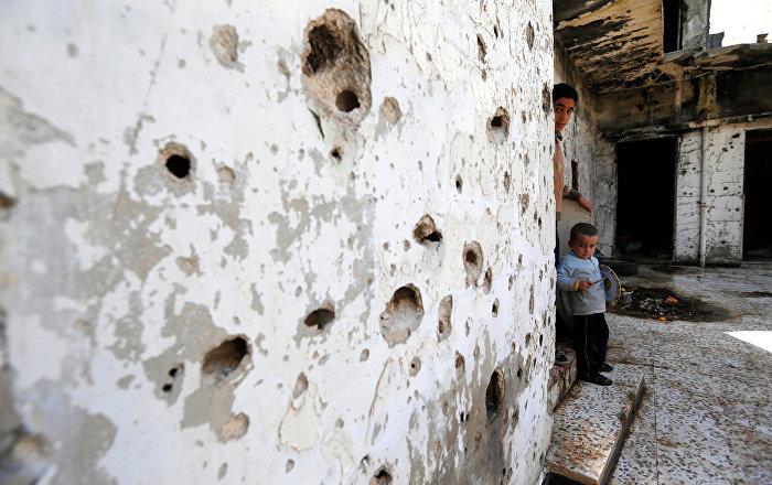 Una casa destruida en la ciudad de Homs, Siria