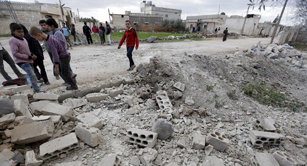 Edificio destruido en Idlib, Siria