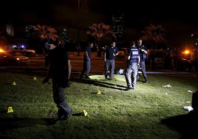 Lugar de atentado en Tel Aviv