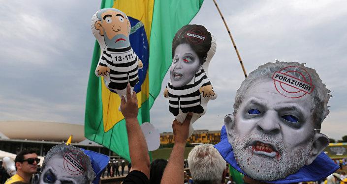 Una protesta contra Luiz Inácio Lula da Silva y Dilma Rousseff (archivo)