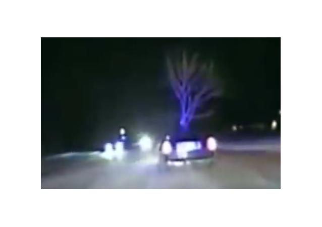 Una borracha estadounidense condujo un coche con un árbol de 5 metros en su capó.