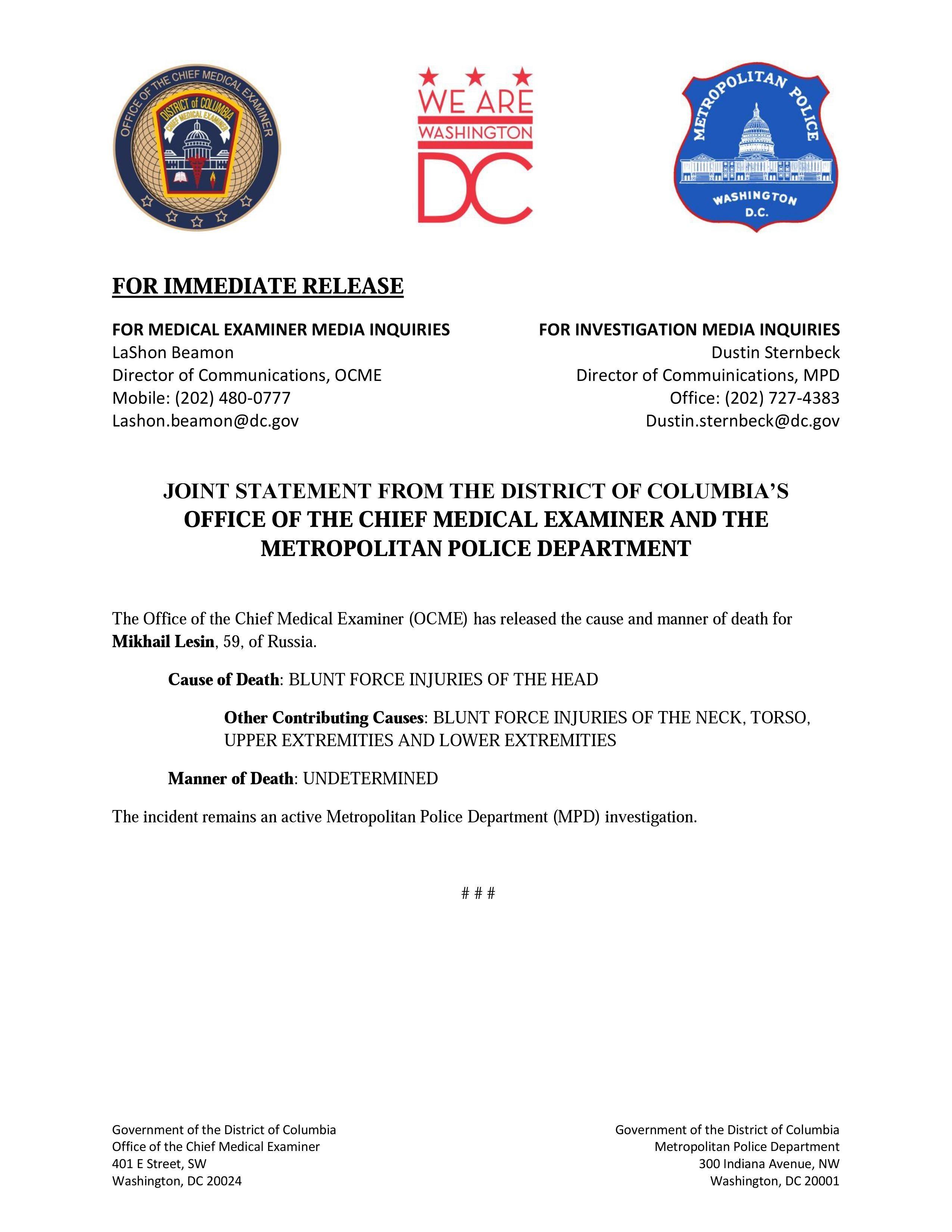 El comunicado oficial de las entidades de EEUU sobre la causa de muerte de Mijaíl Lesin