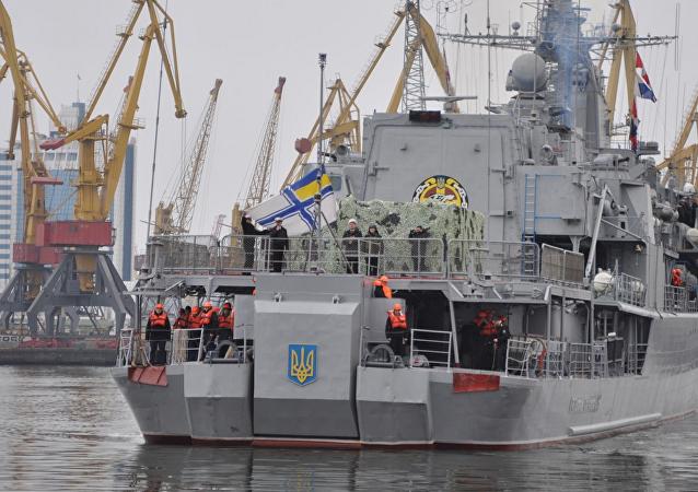 La fragata Hetman Sagaidachni llega al puerto de Odesa