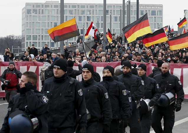 Manifestación antigubernamental en Berlín