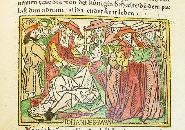 Representación medieval de la muerte de la papisa Juana