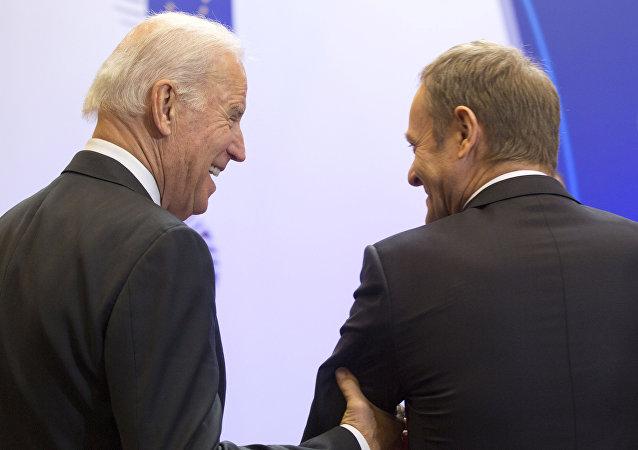 Vicepresidente de EEUU, Joe Biden y  presidente del Consejo Europeo, Donald Tusk