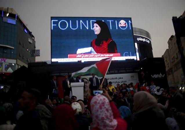 Hanan al Hrub, profesora palestina, ganadora del Premio Profesor Global