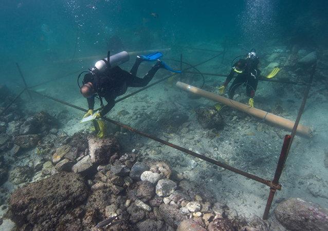 Restos de la nave naufragada Esmeralda que formaba parte de la flota del explorador portugués Vasco de Gama