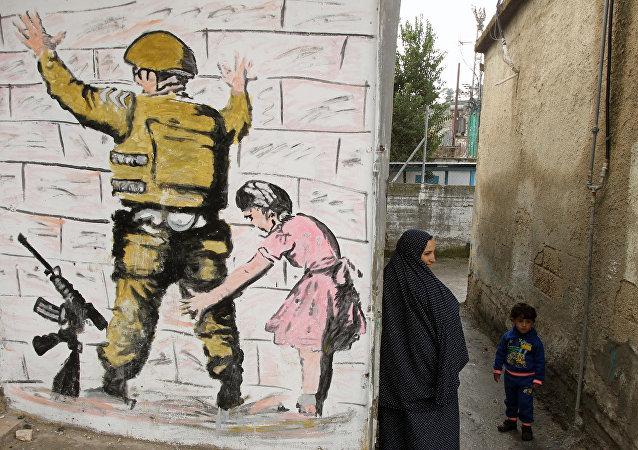 Campo de refugiados en Palestina