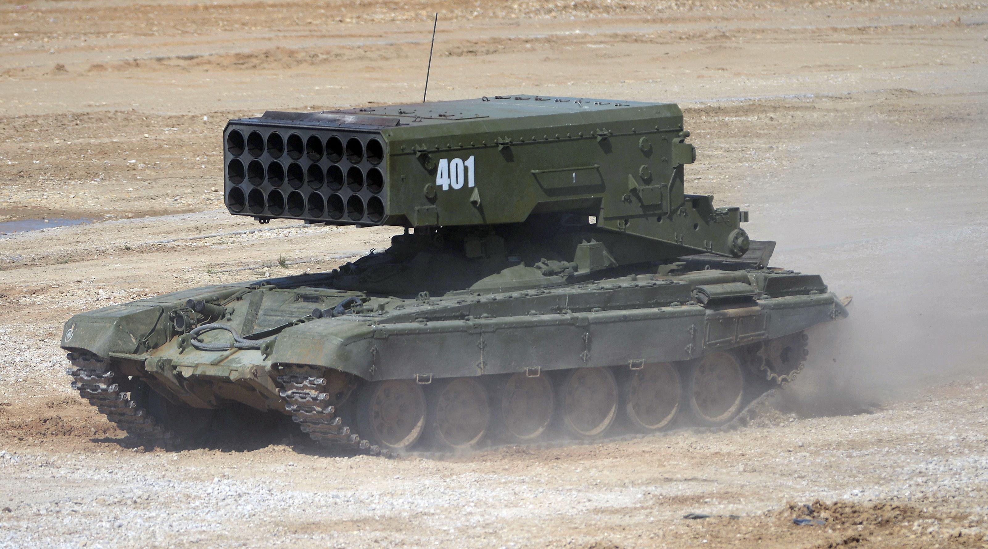 El lanzacohetes incendiario ruso TOS-1A Solntsepiok