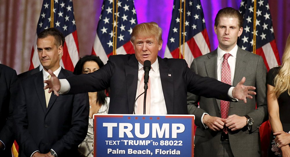 Republican U.S. presidential candidate Donald Trump speaks about results of primary elections during a news conference in Palm Beach
