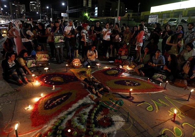 Una vigilia para honrar Berta Cáceres en Tegucigalpa