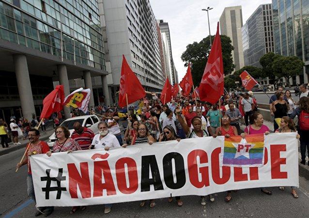 Manifestación en apoyo al gobierno actual de Brasil en Río de Janeiro
