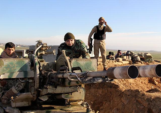 Militantes de Peshmerga en Irak