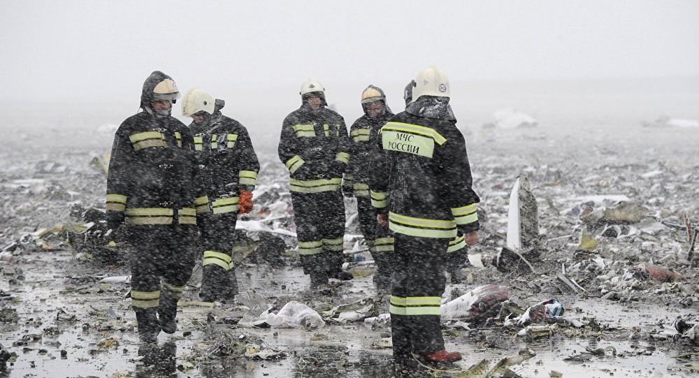 Equipos de rescate en el lugar del siniestro en Rostov