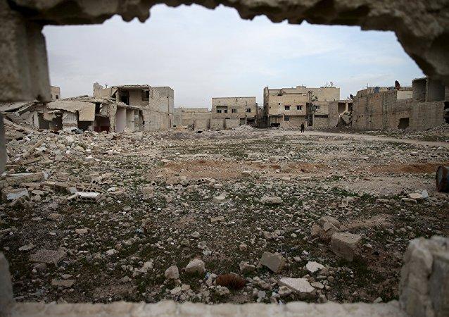 Edificios destruidos en Duma, Siria