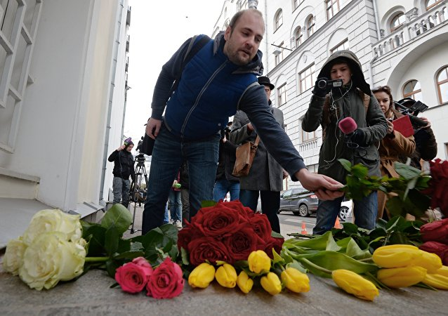 Memory vigil near Belgian Embassy in Moscow after explosions in Brussels
