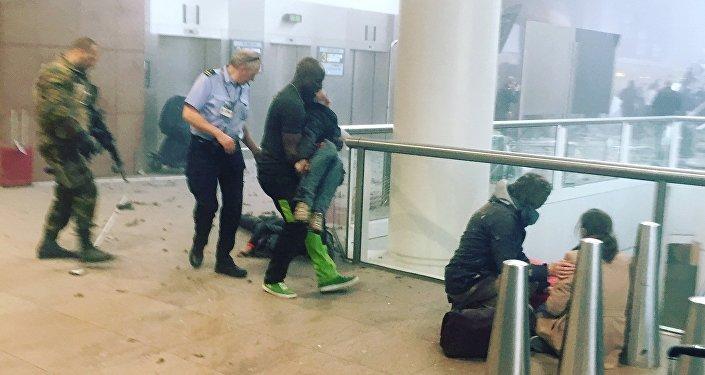 El lugar del atentado en el aeropuerto de Bruselas