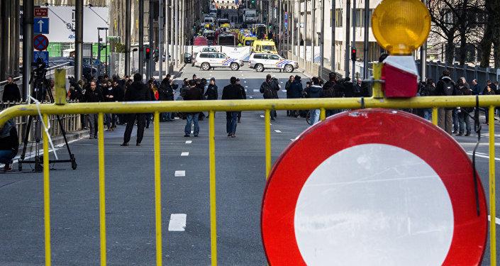 Policías en el lugar de uno de los atentados, Bruselas