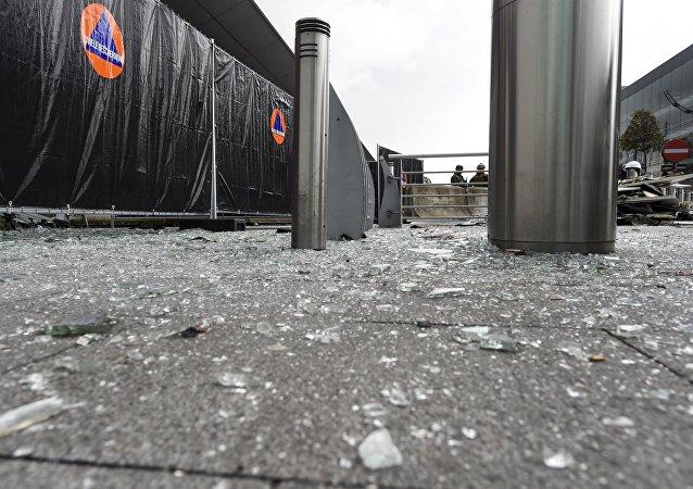 Lugar del atentado en el aeropuerto de Bruselas