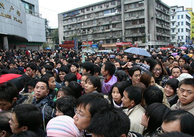 La muchedumbre en la estación ferroviaria de Guangzhou