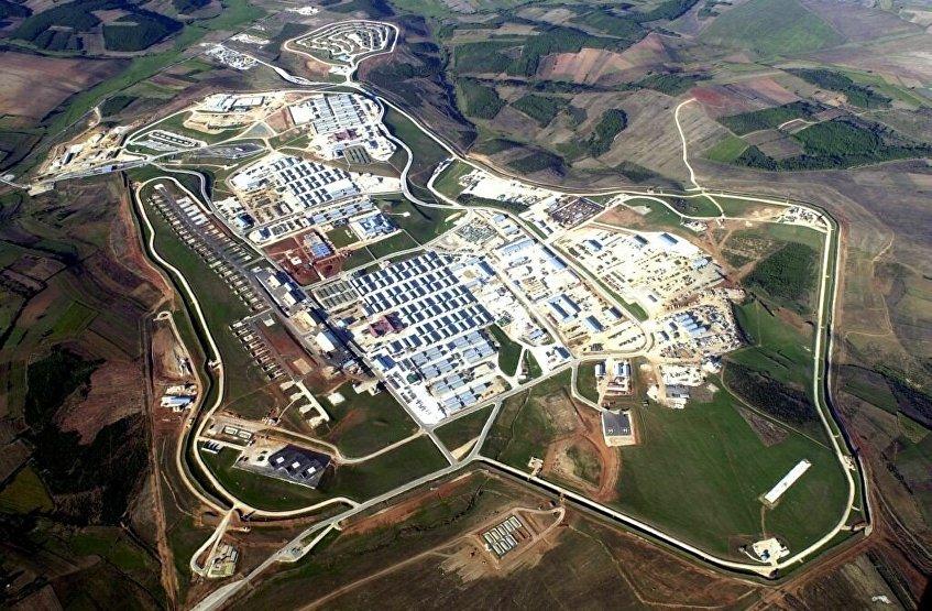 Vista aérea de la base Bondsteel en Kosovo