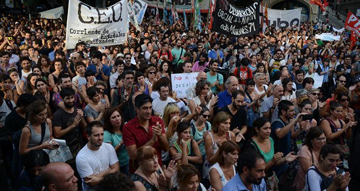 Una manifestación contra los despidos en Buenos Aires, Argentina, el 29 de enero de 2016