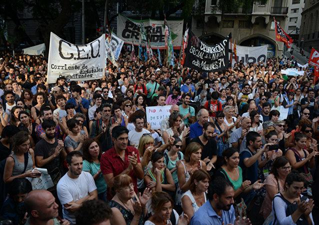 Manifestación de protesta contra los despidos en Argentina (archivo)