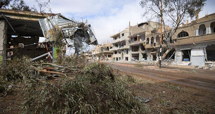 Edificios destruidos en Palmira
