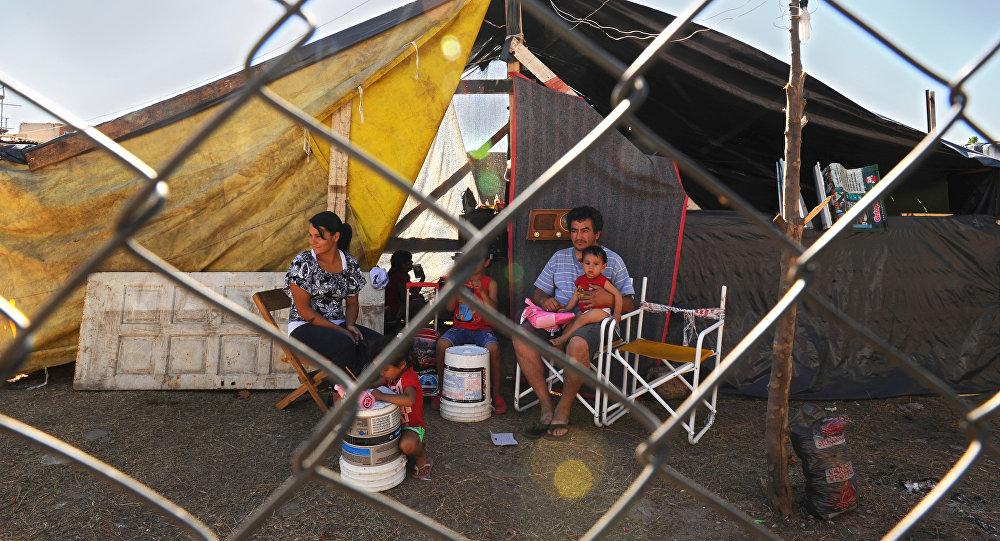 Una familia sin hogar argentina en Buenos Aires