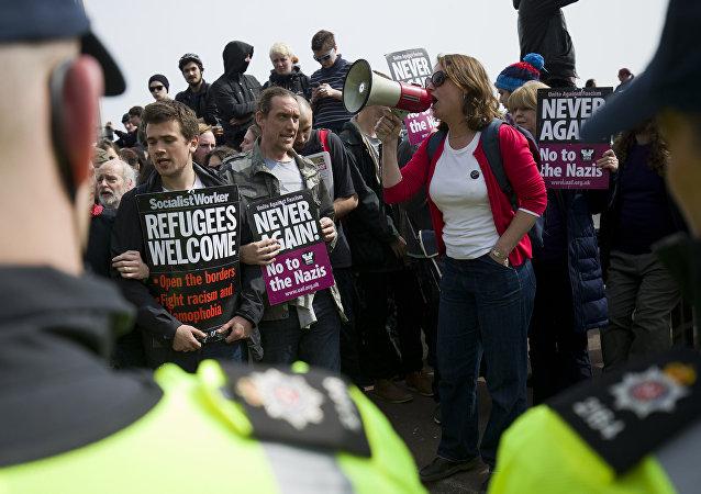 Manifestacón en apoyo de los migrantes