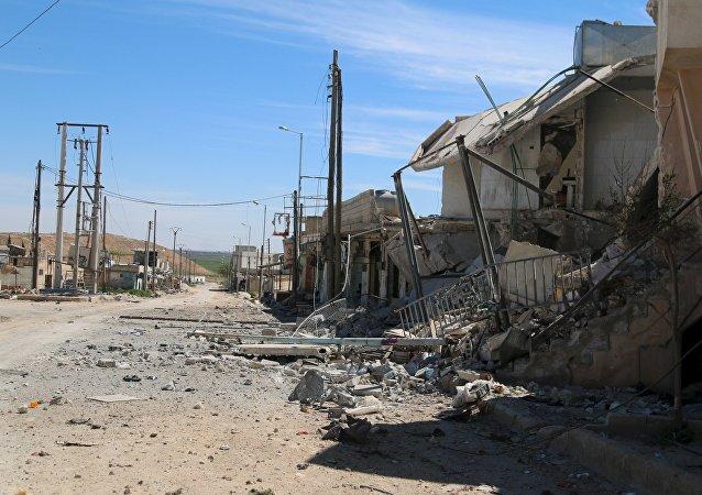 Las casas destrudias por los rebeldes sirios en las afueras de Alepo