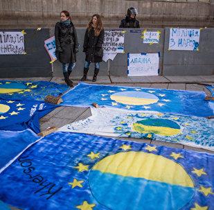 La manifestación en apoyo a la asociación Ucrania-UE
