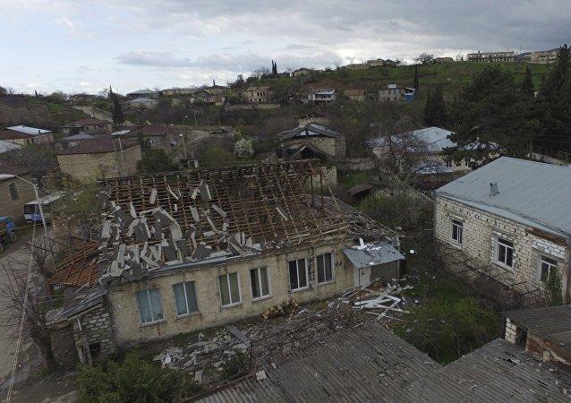 Localidad de Martakert que, según los medios armenios, fue afectada por las hostilidades en la región