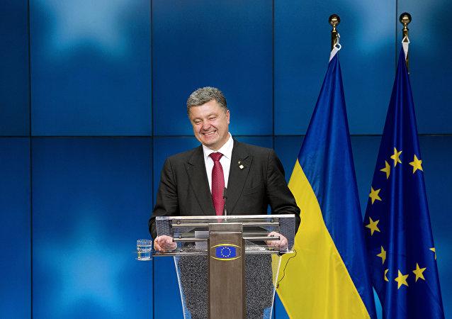 El presidente de Ucrania, Petró Poroshenko, en el Consejo Europeo en Bruselas
