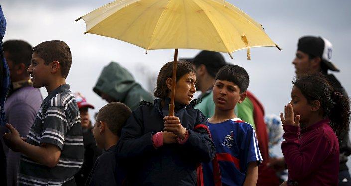 Unos refugiados menores de edad