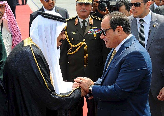 Rey saudí Salman bin Abdulaziz y presidente egipcio Abdelfatáh al Sisi