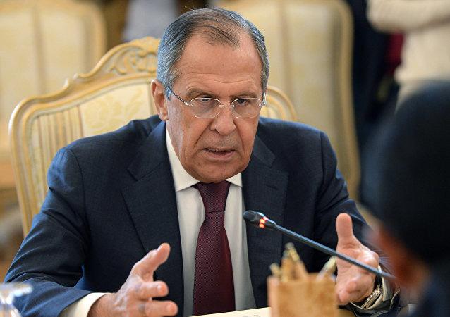 Ministro de Exteriores de Rusia, Serguéi Lavrov, durante la reunión con su homólogo boliviano, David Choquehuanca