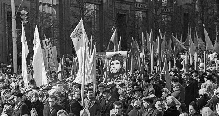 La demostración en Moscú con el motivo de la llegada de Yuri Gagarin a la capital rusa (archivo)