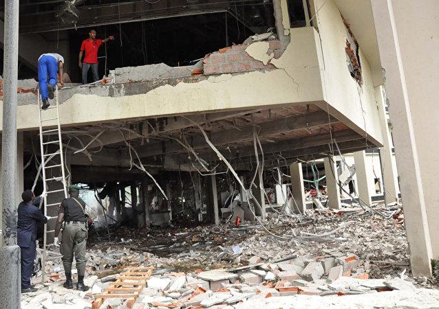 El lugar del atentado contra la sede de la ONU en la capital de Nigeria, Abuya (2011)
