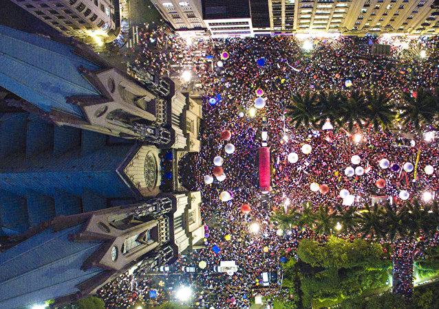 Manifestantes protestan en Sao Paulo (Archivo)