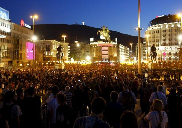 Protestas antigubernamentales en Macedonia