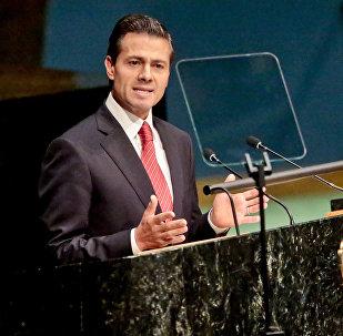 Enrique Peña Nieto, el presidente de México, durante la Asamblea General para debatir las políticas de drogas y narcotráfico mundiales