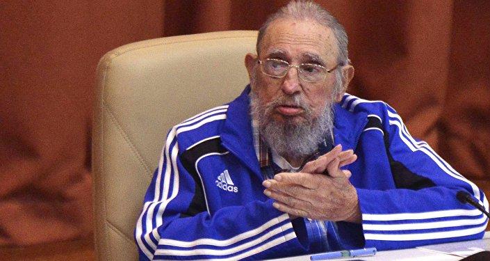 Fidel Castro, el líder de la revolución cubana, durante su discurso en el VII Congreso del Partido Comunista de Cuba