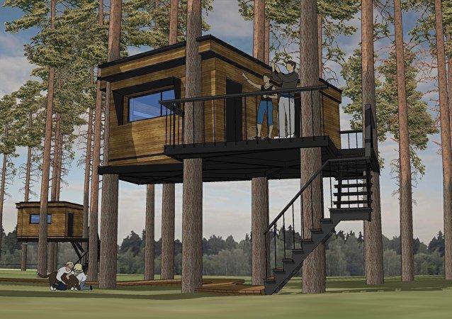 Una casa de la ecoaldea Nest Hotel (ilustración)