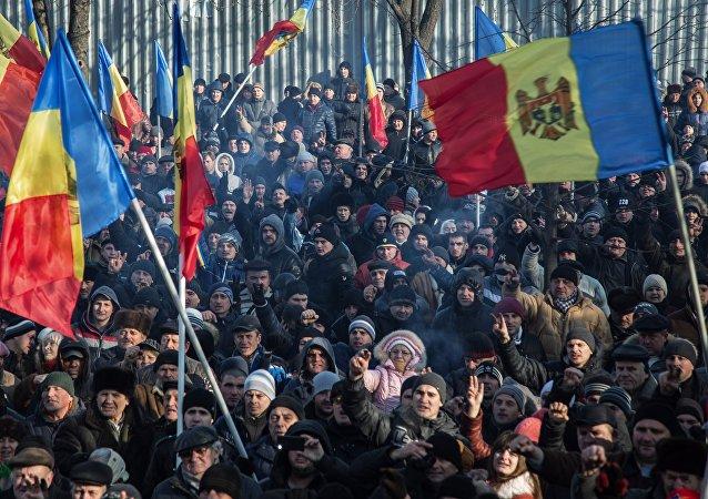 Manifestación de protesta en Moldavia, el 21 de abril de 2016