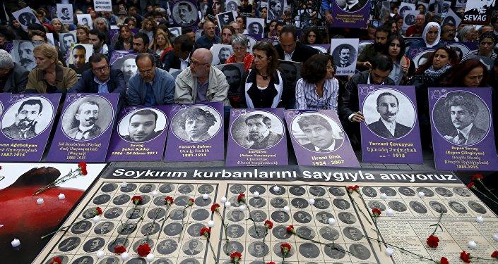 Manifestación en memoria de las víctimas de la matanza de 1915 en el Imperio Otomano