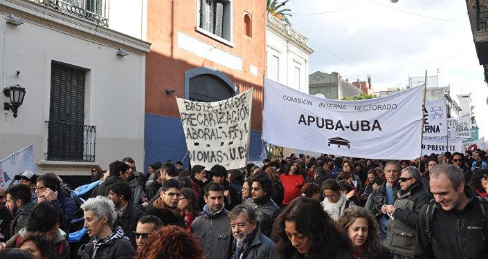 Marcha de la Asociación del Personal No Docente de la Universidad de Buenos Aires.