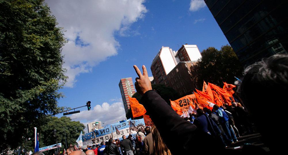 Manifestación sindical contra el Gobierno argentino