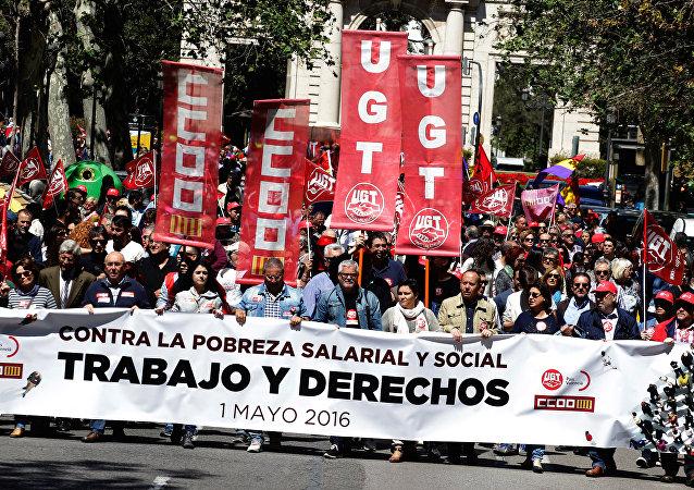 Manifestación en Valencia, España, el Día del Trabajo